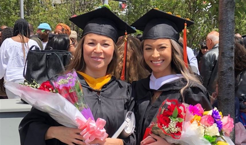 Immigrant mother and daughter graduate from same college together after a 20 year struggle