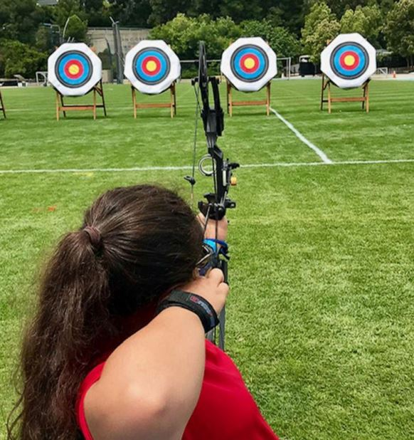 Olivia Curcuru competes at archery during the Desert Challenge Games 2019 in Los Angeles, in June 2019.