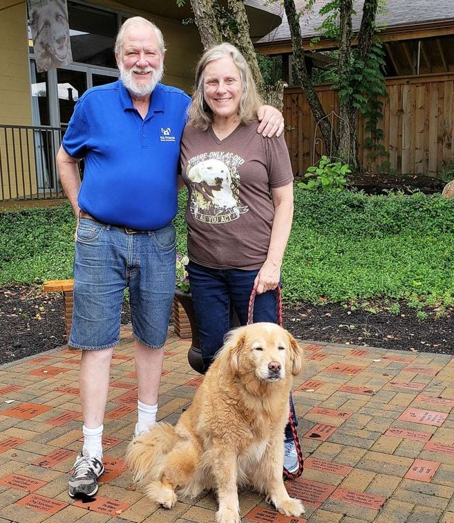 Michael and Zina Goodin founded the Old Friends Senior Dog Sanctuary in Mount Juliet, Tennessee in 2012. They're pictured here with one of their rescued senior dogs, Barry.