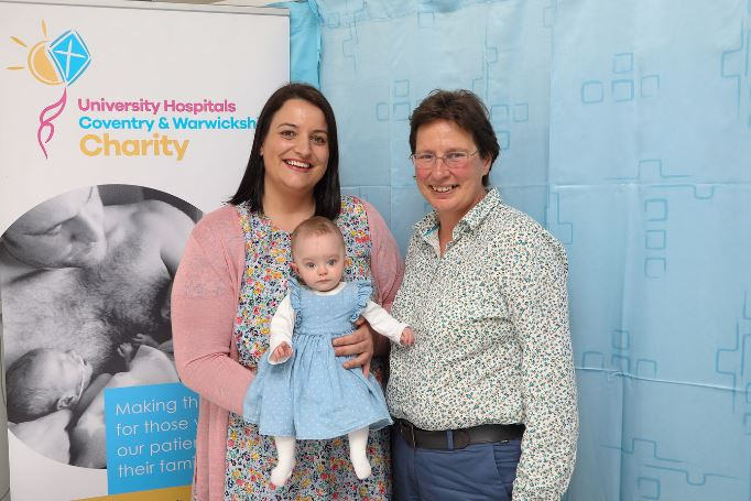Laura Worsley with baby Ivy and Professor Siobhan Quenby