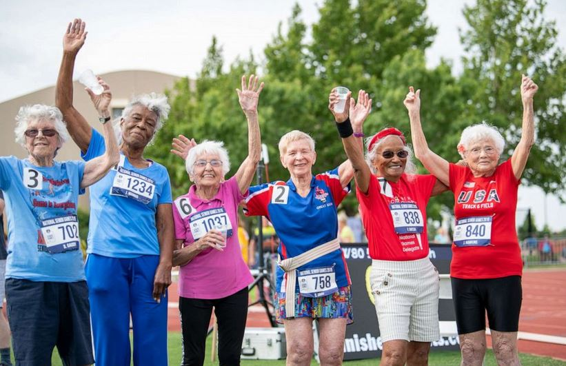 Julia Hawkins, far right, poses with other athletes at the 2019 Senior Games in Albuquerque, New Mexico.