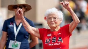 Julia Hawkins celebrates her win at the 50-meter race at the 2019 National Senior Games in Albuquerque, New Mexico.