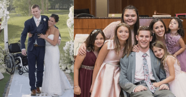 Paralyzed Groom Who Miraculously Walked Down Aisle Has Adopted 5 Girls With His Wife.
