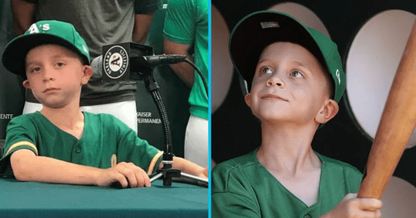 Little baseball fan lives his dream of signing with the Oakland A's for a game via Make-A-Wish.