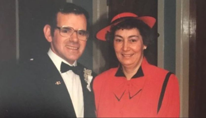 Jade Stephenson's grandparents James and Nora Sutherland on their wedding day in 1987