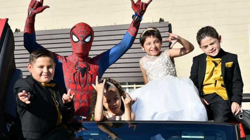 Zoe Figueroa, 8, is seen at her party in San Diego, California, celebrating her birthday and being cancer-free with her brothers Zach, 11 and Zayden, 7 and sister Zandrea, 5.