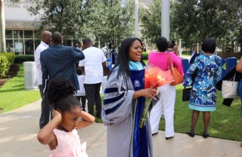 On June 14, Yolanda Perkins walked across the stage during commencement at Nova Southeastern University and accepted her PhD as her family looked on.