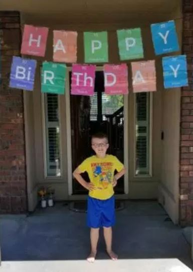 Local football team surprises Christian on his birthday.