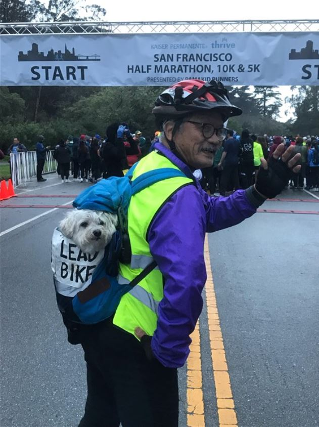 "Monte ""helps"" Vince Louie volunteer at fundraising events for the Chinatown YMCA from the comfort of a backpack."