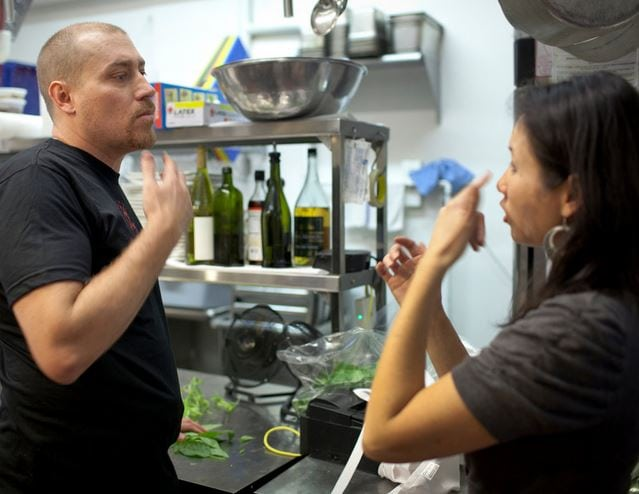 Russ and Melody Stein, who are deaf, own Mozzeria.