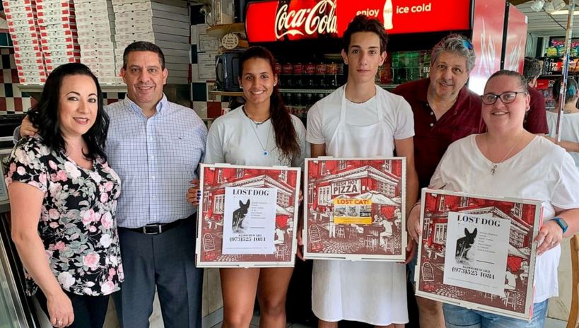 Angelo's Pizza in Matawan, New Jersey, is using their pizza boxes to help find missing pets.