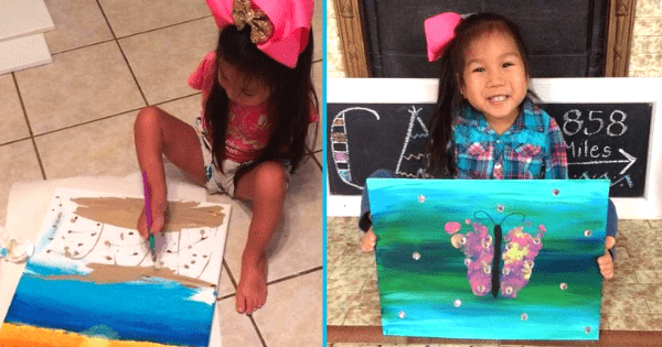 Girl born without arms creates colorful paintings all by herself. Credit: Meeting Minh - Facebook.