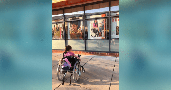 Girl with rare disease becomes overjoyed when she sees an 'Ulta Beauty' ad featuring woman in wheelchair.
