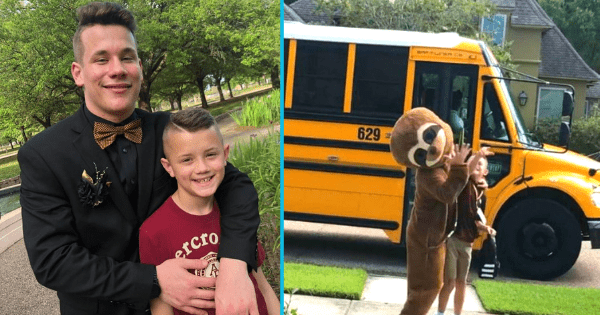 Teenager greets little brother in different costume everyday to make memories before leaving for college