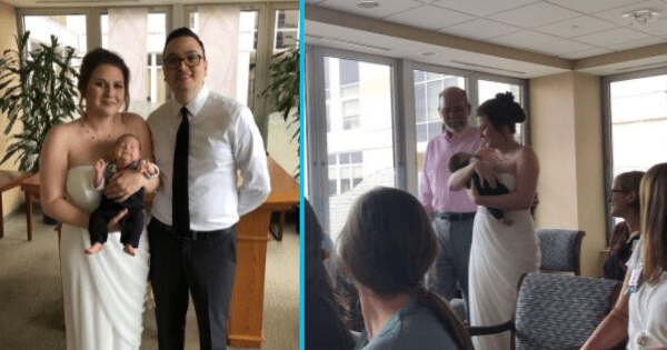 Mom of preemie carries baby instead of bouquet in hospital wedding.