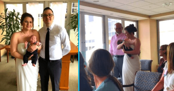 'Baby Bouquet' - New Mom Carries Preemie Down the Aisle Instead of Flowers in Sweet Hospital Wedding