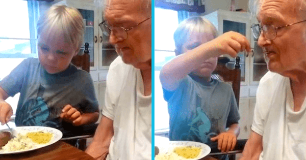 This adorable 6-year-old patiently feeds his great-grandfather who suffers from Alzheimer's disease.
