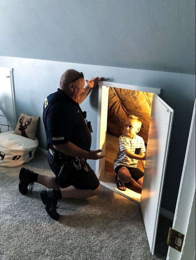 Police officer responds to call and helps little boy overcome extreme anxiety of monsters in his house.  Amanda Williams - Facebook