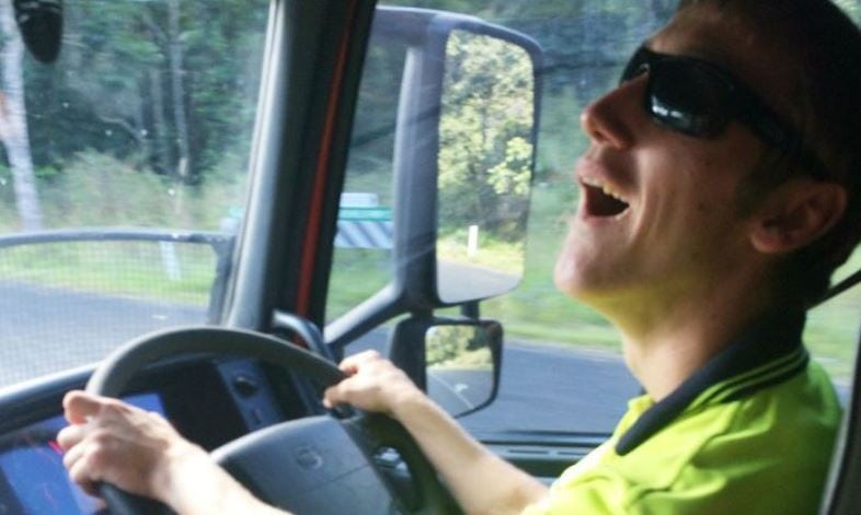 Cerebral palsy doesn't stop Max Quaglio from following his dream of driving trucks. Credit: Grace Quaglio