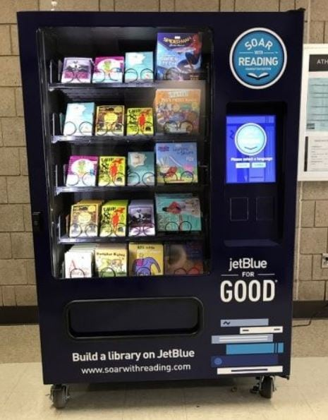 JetBlue's Soar with Reading initiative in NYC stocks free book vending machines for underprivileged kids to enjoy.