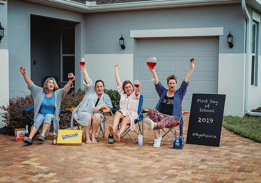 A group of Florida moms hilariously celebrate the first day of school with wine and donuts.