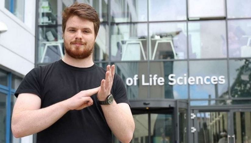 Liam McMulkin created more than 100 new signs for scientific terms to help himself and future students. Credit: University of Dundee - Source: abc