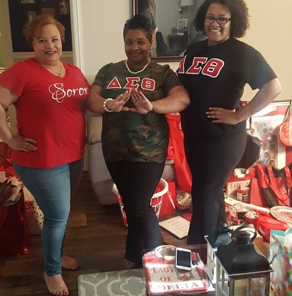Michelle Lindsey poses with fellow members of Delta Sigma Theta Sorority.