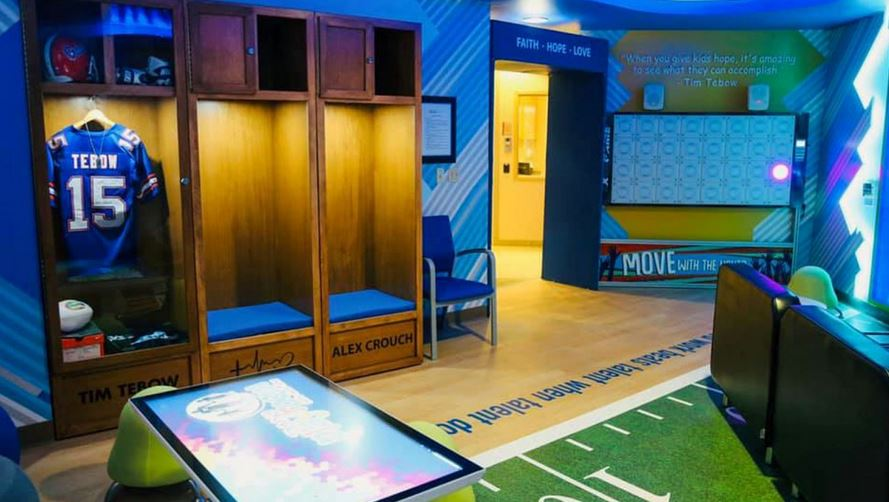 Tim Tebow announces 10th playroom for children's hospital so these little patients can 'just be kids again'. Source: Time Tebow Foundation