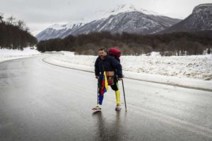 Venezuelan man makes 'one-legged' trek across South America to inspire hope