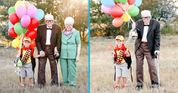 "Magical ""Up"" photoshoot with 5-year-old & his great-grandparents was set up for the sweetest reason."