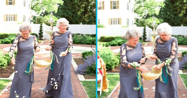 Timeless Beauty - Bride & Groom's Grandmothers Team Up As Flower Girls to Bring Special Meaning to Wedding