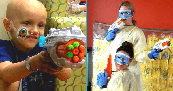 "Nurses Have Epic 'Nerf War' With 4-Year-Old Boy Who Has Brain Cancer - ""They Are Angels on Earth"". Credit: Jeremy Esposito/Norton Children's Hospital"