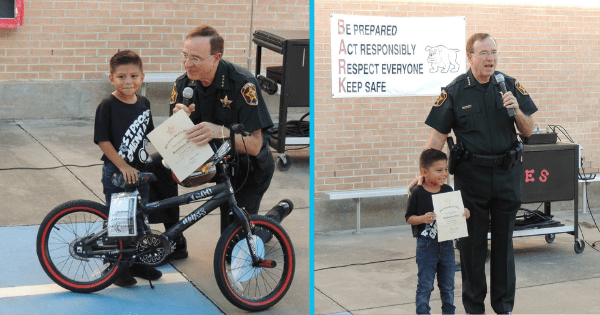Sheriff's office rewards tiny hero who saved his teacher's life after she fell and hit her head on a desk