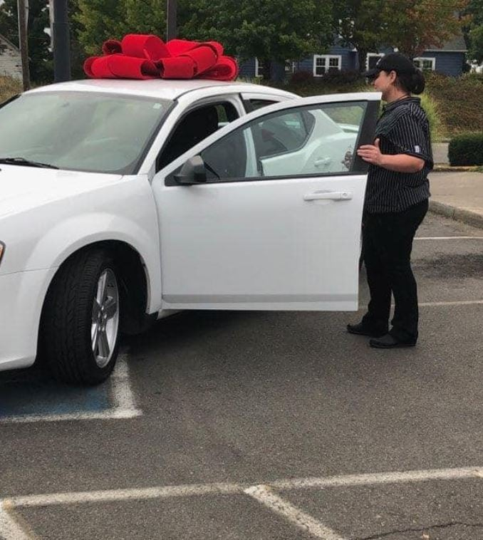KFC surprises single mom with a new car after she walked an hour to and from work every day for a year. Credit: Crystal Lachance