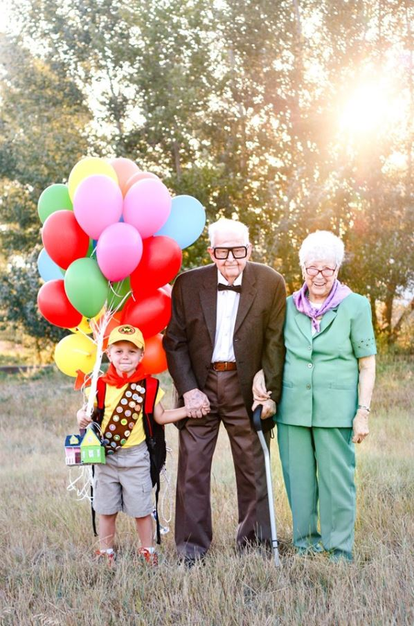 """Magical """"Up"""" photoshoot with 5-year-old & his great-grandparents was set up for the sweetest reason. Credit: Rachel Perman Photography"""