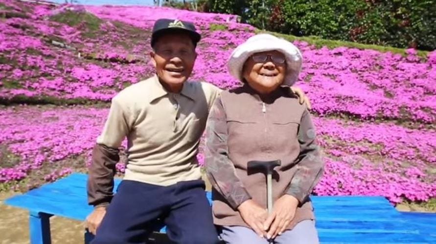 Loving husband spends 2 years planting thousands of beautiful flowers for his blind wife to smell.