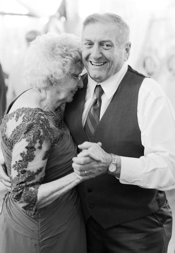 The bride's grandparents Joyce and Ronald Sr. dancing the night away after 56 years of marriage.