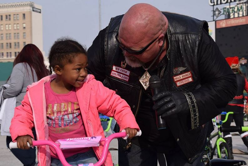 Hells Angels in Fresno buy every single bike at Walmart to give to less fortunate kids this holiday season.