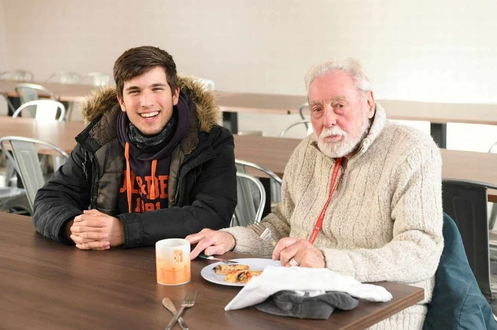 After his wife died, elderly man invited to eat lunch with kids at local school so he doesn't have to eat alone.