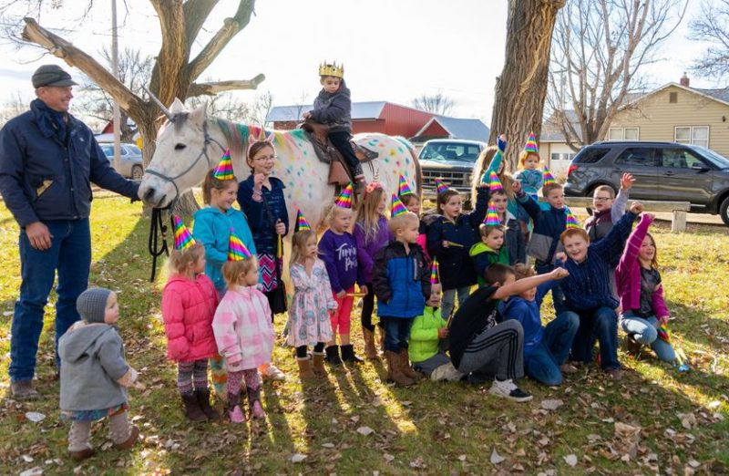 Classmates, parents and friends showed up in Fallon, Mont., on Dec. 7 to send off Wyatt Haas with a magical unicorn party as he heads to St. Jude Children's Research Hospital to begin treatment for brain cancer.
