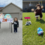 """Neighborhood kids started a """"social distancing"""" community zoo full of stuffed animals as the entertainment"""