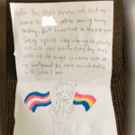 Neighborhood kid leaves touching note on couple's doorstep thanking them for the courage to come out.
